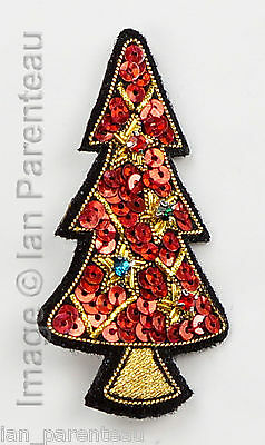 Red Hand Embroidered Christmas Tree Brooch Pin