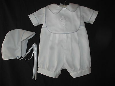 Baby Boys Cotton Sateen Christening Romper Baptism Outfit   NB 3 6 12  Months