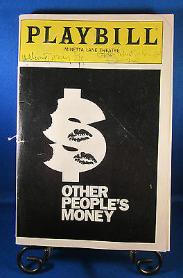 "Playbills 1990'S ""OTHER PEOPLE'S MONEY"" for The Minetta Lane Theatre May 1991"