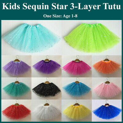 Girls Sparkle Glitter Sequins Stars Dance Ballet Tulle Tutu Skirt Princess Dress