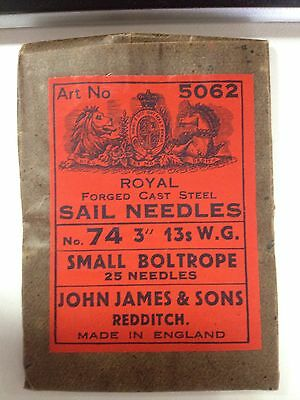 New from Old stock Small Boltrope Sail Needles! 3 Inch! Made in England! L@@K!