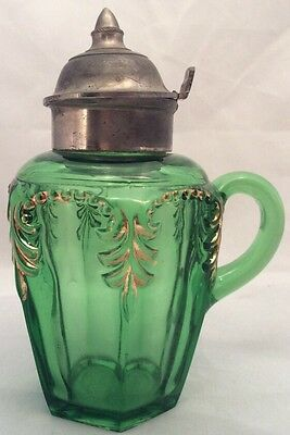 Priscilla green with gold pattern glass syrup pitcher Fostoria Glass 1898 EAPG