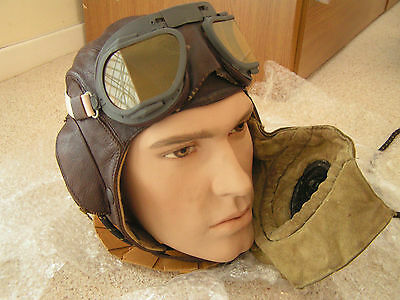 WW2 British RAF pilot flying helmet with type D oxygen mask military airforce