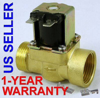 3/4 inch 24V DC VDC Slim Brass Solenoid Valve NPS Gas Water Air Normally Closed