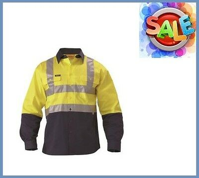 BISLEY Safety Work Wear Lt Wt Cotton Drill Tape Shirt Size S Yellow/Navy Hi Vis