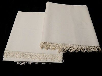 Vintage White Cotton Pillowcase Pair with Hand Made Tatting Lace