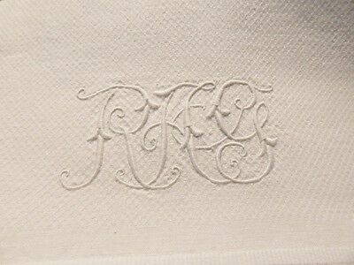 Antique Linen Damask Guest Towel w Scrolly Embroidered Monogram RAG