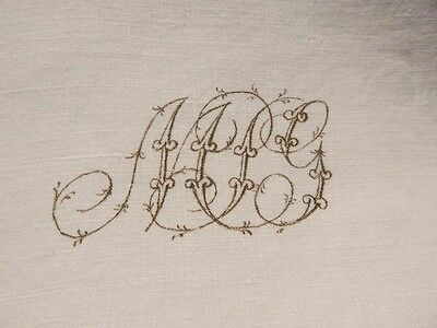 "Antique Linen Dowry Bed Sheet w Printed Scrolly Monogram 86.5"" x 93.5"""