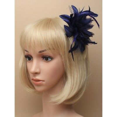 Navy Blue Lily Flower with Feather, glitter Polka dots comb Headpiece Fascinator