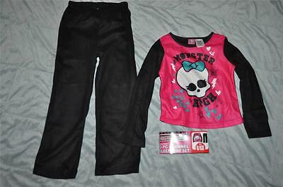 Monster High Girls 2 Piece Fleece Pajama Set Long Sleeve Shirt & Pants See Sizes