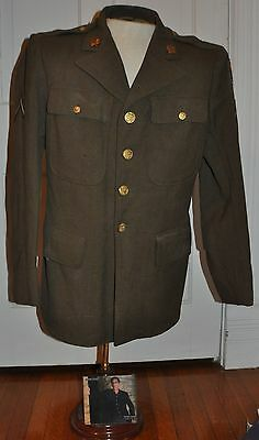 ORIGINAL WW2 US ARMY ENLISTED MANS WOOL 4 Pocket JACKET ~ LARGE SIZE 40 S ~