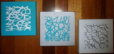 ORIGINAL ABSTRACT CANVAS PAINTINGS x 3 TURQUOISE WHITE SILVER DEE'S FUNKY ART