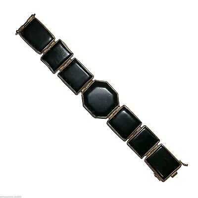 18k Gold Bracelet Mounting Antique Jet (Fossilized Wood) 18 century.   (0585)