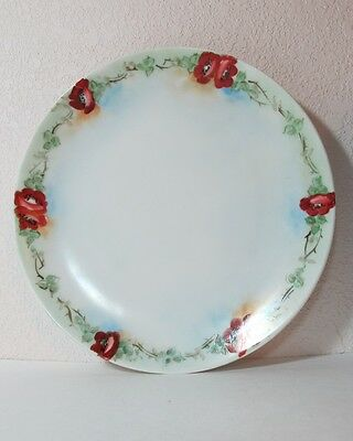 "Plate by Eagle China in Austria 7 3/4"" wide red orange poppies green leaves."