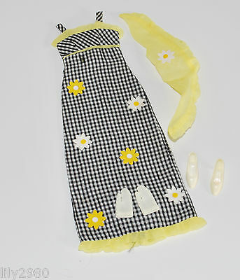 Vintage Mod Francie Check this Dress #1291 Barbie Outfit Complete Casey Doll VGC