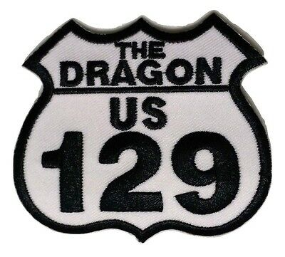"""(D36) US 129 TAIL OF THE DRAGON 3"""" x 2.5"""" iron on patch Biker"""