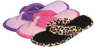 Wholesale Lot of 36prs LADIES PLUSH TWO TONE THONG SLIPPERS FLIP-FLOPS, $3.00 ea