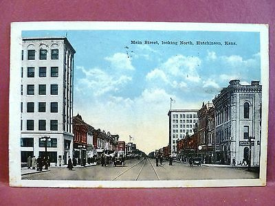 Postcard KS Hutchinson Main Street Looking North 1919