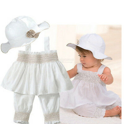 Baby Girl Clothes 0-3 6-9 12-18 24 Months White Summer Dress 3 Pcs Set TYA9