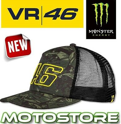 Vr46 Valentino Rossi Trucker Cap Official Hat Genuine Black Camo Camouflage