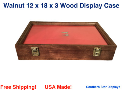 Wood Display Case  12 x 18 x 3  Walnut with keyed lock
