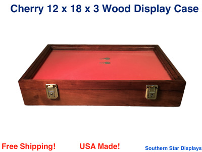 Cherry Wood Display Case  12 x 18 x 3 for Arrowheads Knifes Collectibles & More