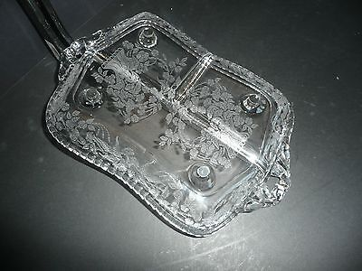"""HEISEY CRYSTAL 3 SECTION RELISH/SERVING DISH, ETCHED & FOOTED, 12 1/2"""" L,"""