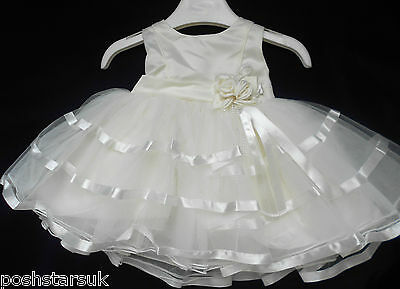 Christening Flower Girls Party Wedding Bridesmaid Pageant Dress 0-24m Ivory Baby
