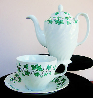 TEAPOT & CUP & SAUCER Burleigh Ware IRONSTONE ~ White & Green IVY Queens Holiday