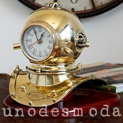 CLASSIC TABLE MANTLE CLOCK US Navy Solid Brass Diving Helmet Desk Nautical Gift