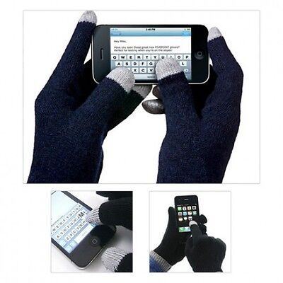 1 Pair Magic Stretch Gloves Smartphone Texting Touch Screen Navy One Size USA