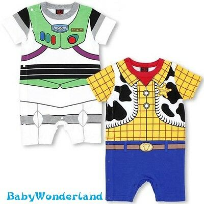 New Baby Boys Disney Woody Buzz Lightyear Short Sleeve Jumpsuit Romper Size 0-2Y