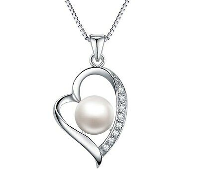 Sterling silver Freshwater Shell Pearl Heart Love Pendant Necklace Gift Box C4