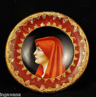 Handpainted Porcelain Italian Plate Italy 7 inch handpainted wood frame gold