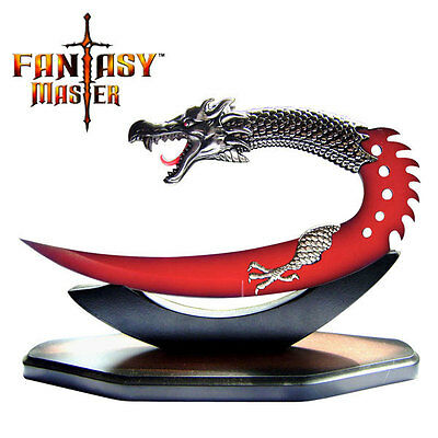 SHIPS WORLDWIDE!~RED DRAGON Fantasy Knife with SLEEK Display Stand!