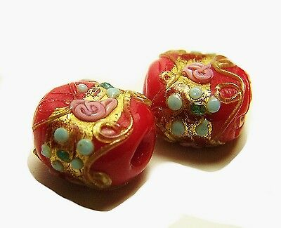 (2) Antique Red Wedding Cake Fancy Venetian Glass Old Collector Trade Beads