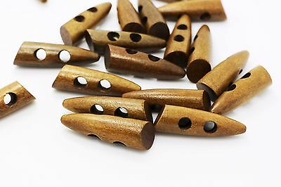 Dark Brown Wooden Toggles Button Duffel Duffle Coat Long Sew Through 46mm 10pcs