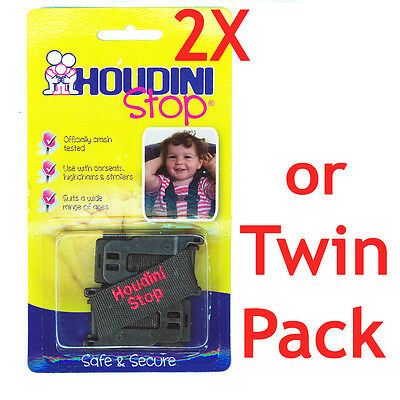 2x New Houdini Stop Car Seat Safety Harness Chest Strap (Twin Pack)