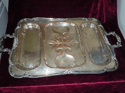 ANTIQUE LARGE SILVERPLATE MEAT CARVING SERVING TRAY PLATTER HEAVY SILVER PLATE