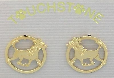Chinese Crested Jewelry Gold Post Earrings by Touchstone