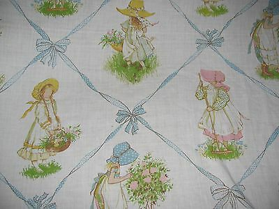 Vintage HOLLY HOBBIE Twin Mattress Flat Sheet MUSLIN JCPenny Craft Fabric