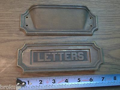 Antique Sargent Heavy Solid Bronze Art Deco Mail Slot Drop-Pass Through W/spring