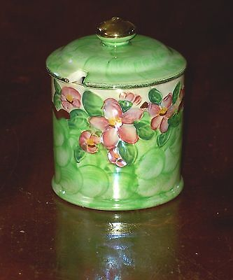 MALING WARE THUMBPRINT PRESERVE POT WITH LID EMBOSSED BLOSSOM BOUGH #6564 CIRCA