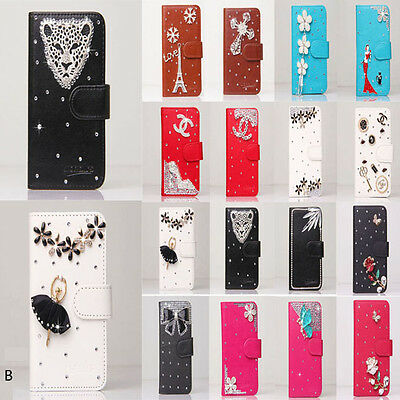 Bling crystal Flower Wallet Leather Flip Case Cover for Various LG Cell Phone