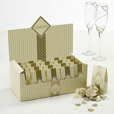 WEDDING CONFETTI Throwing Biodegradable CHIC BOUTIQUE Ivory Gold Tissue Pieces