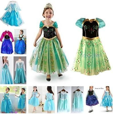 FROZEN Costume Elsa Anna Dress Up Gown Queen Princess Birthday Party Dress 2-8 Y