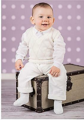 Baby Boy Cream Smart Tank Top Outfit Christening Special Occasion  0-18M