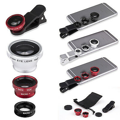 3 in 1 180° Fish Eye Lens + Wide Angle + Micro Lens for iPhone 6 5s/5c 5 4s 4