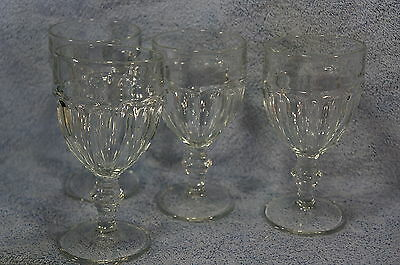 """Libbey Gibraltar Duratuff Clear Water Goblet 6 3/4"""" Lot of 4 Glasses"""