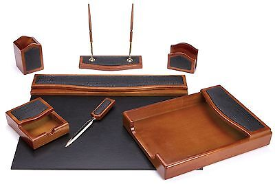 Majestic Goods Seven Piece Brown Oak with Black Eco-Friendly Leather W401